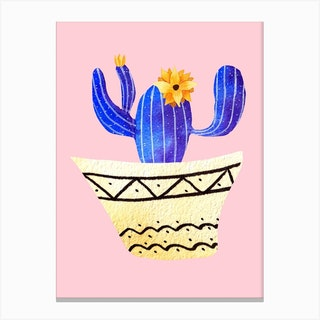 Golden Pots And Galactic Cacti Canvas Print