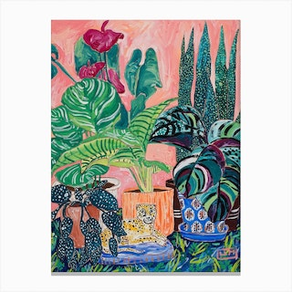 Indoor Tropical Plant Jungle With Cheetah Canvas Print
