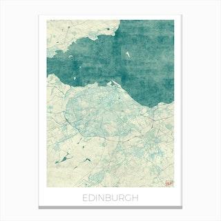 Edinburgh Map Vintage in Blue Canvas Print