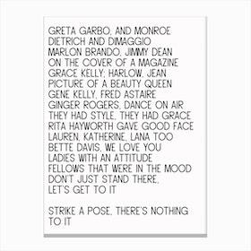 Vogue I Canvas Print