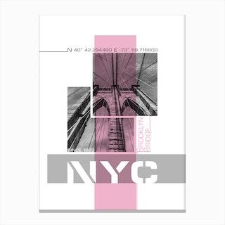 Poster Art Nyc Brooklyn Bridge Details Pink Canvas Print