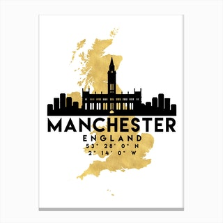 Manchester England Silhouette City Skyline Map Canvas Print