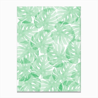 Monstera Little Forest Canvas Print