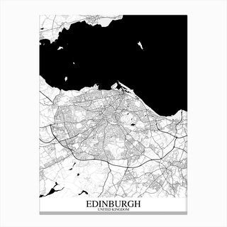 Edinburgh White Black Map Canvas Print