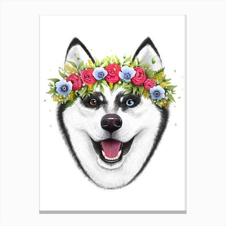 Husky With Flowers Canvas Print