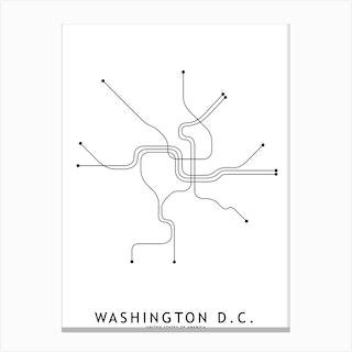 Washinton Dc Subway White Map Canvas Print