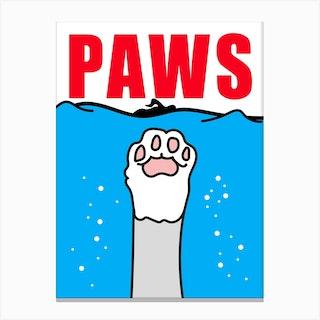 Paws Poster Cat Parody Canvas Print