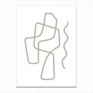 Linear Abstraction In Olive Green 2 Canvas Print