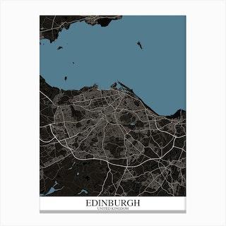 Edinburgh Black Blue Map Canvas Print