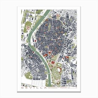 Seville Engraving Map Canvas Print