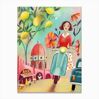 Italian Sunset Vespa Ride Canvas Print