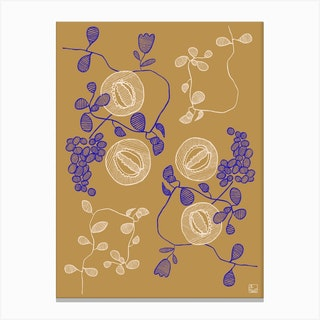 Embroidered Flowers Canvas Print