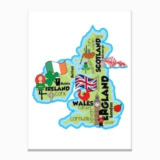 UK Map Canvas Print