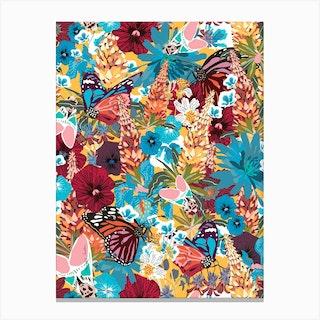 Butterfly Floral Garden Canvas Print
