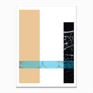 Blue Sand and Marble Rectangles Geometric Canvas Print