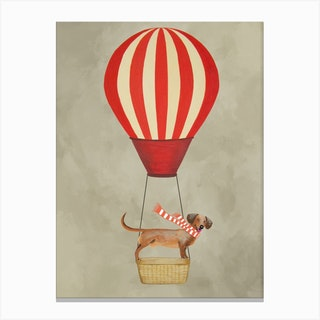 Dachshund With Hot Airballoon Canvas Print