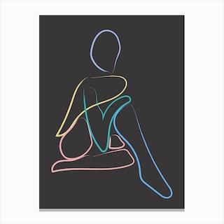 Figure Line Colours Dark Canvas Print