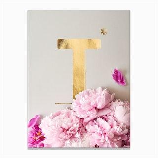 Flower Alphabet T Canvas Print