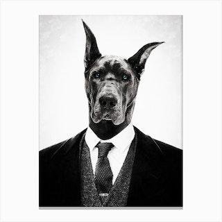 Black Dog Portrait Canvas Print