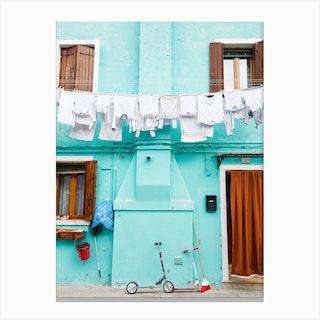 Turquoise Washing Burano Canvas Print