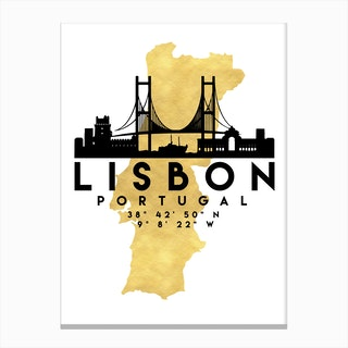 Lisbon Portugal Silhouette City Skyline Map Canvas Print