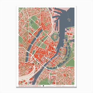Copenhague Classic Map Canvas Print