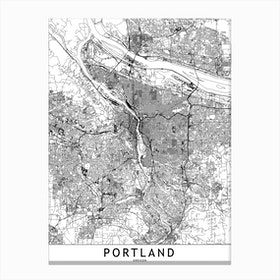 Portland White Map Canvas Print