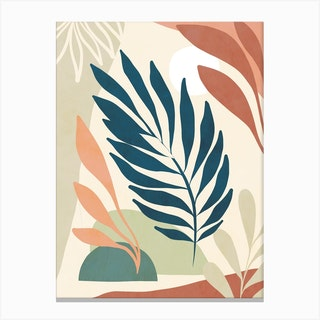 Earthy Tropical Foliage Blue 6 Canvas Print