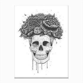Skull With Flowers Canvas Print