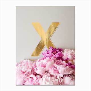 Flower Alphabet X Canvas Print