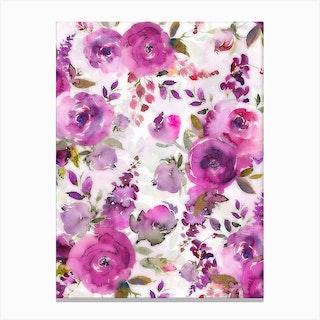 Lush Purple Watercolor Roses Canvas Print