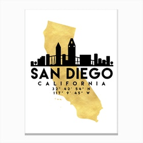 San Diego California Silhouette City Skyline Map Canvas Print