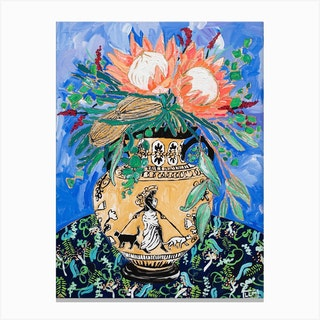 Protea Bouquet In Greek Urn With Cat Walking Lady Figure Canvas Print