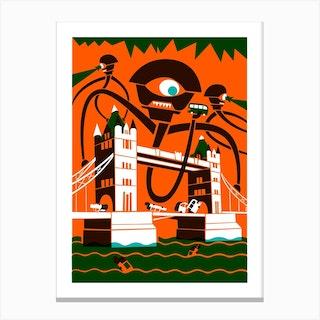 Orange Alien Invasion Canvas Print
