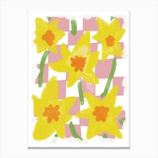 Daffodils Pink Check Canvas Print