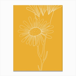 Mustard Yellow Floral Line Drawing Canvas Print