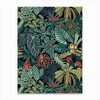 Jungle Leaves Pattern Canvas Print