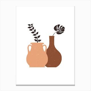 Minimal Brown Vases Canvas Print