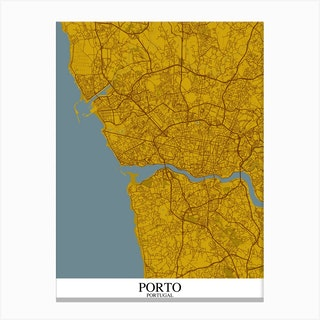 Porto Yellow Blue Canvas Print