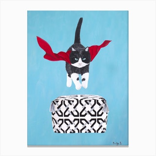 Flying Black White Cat Over Pouf Canvas Print