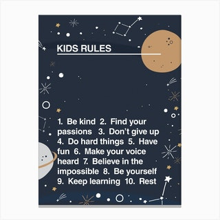 Kids Rules Canvas Print