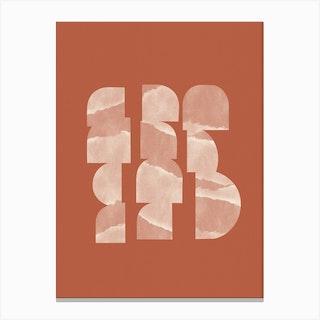 Geometric Objects On Terracotta Canvas Print