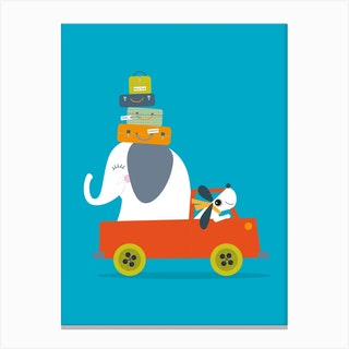 Elephant And Dog Go On An Adventure Canvas Print