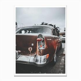 Vintage America Red Retro Car Canvas Print