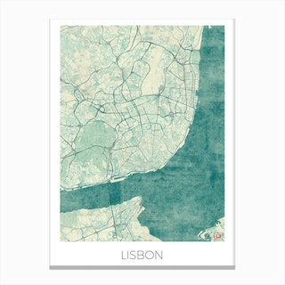 Lisbon Map Vintage in Blue Canvas Print