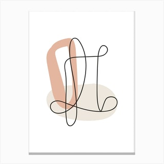 Abstract Lines Neutral Shapes 2 Canvas Print