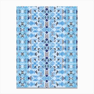 Boho Nomadic Tribal Blue Canvas Print