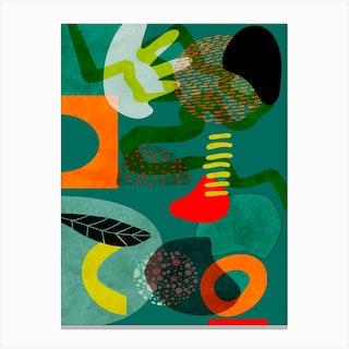 Mid Century Garden Shapes June3 Canvas Print
