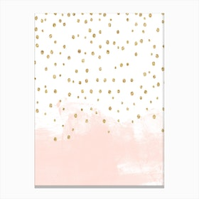 Baby Pink Stroke with Gold Spots Canvas Print