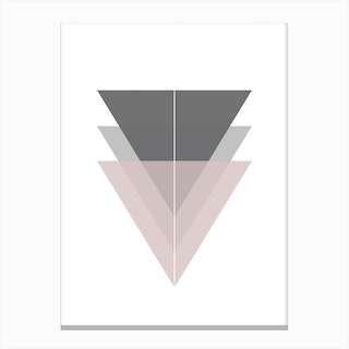 Pink and Grey Triangles Canvas Print